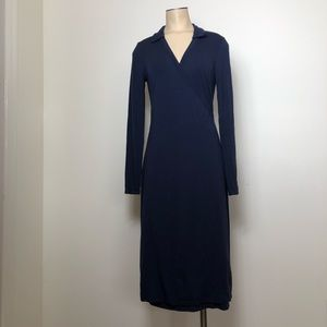 Boden Navy Blue Collared Long Sleeve Wrap Dress